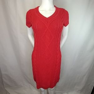 Tommy Hilfiger Red Cable Knit Sweater Dress Size M